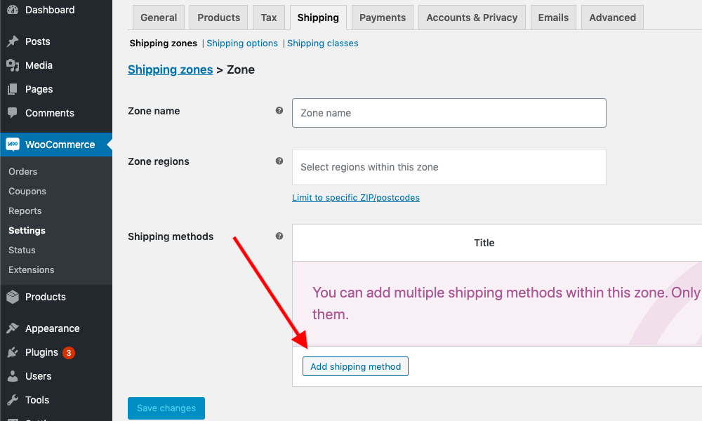 WooCommerce add a new shipping zone