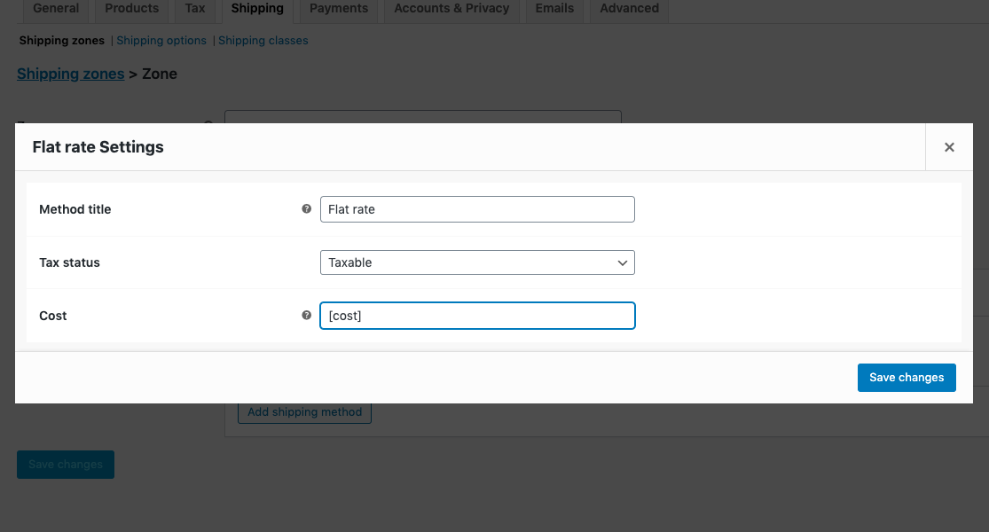 WooCommerce flat rate settings cost option