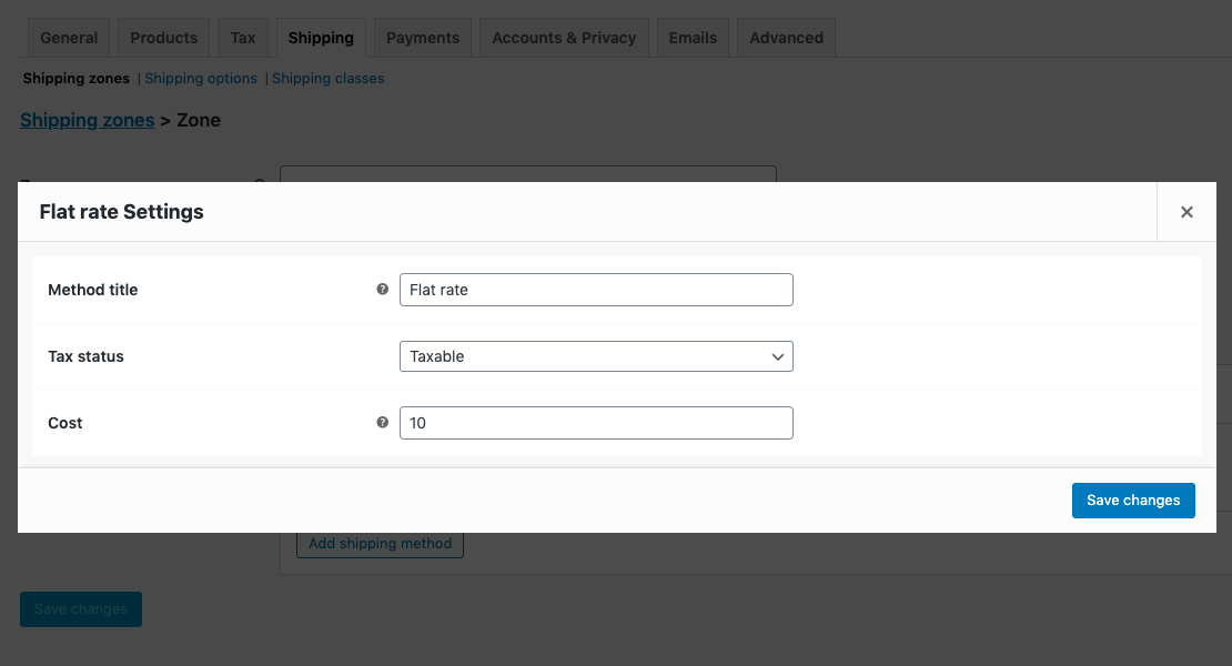 WooCommerce flat rate shipping settings
